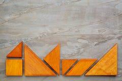Sette pezzi di puzzle del tangram Fotografia Stock