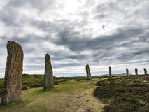 Sette pietre diritte, anello di Brodgar fotografia stock libera da diritti