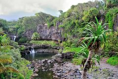 Sette raggruppamenti sacri dell'Ohio, Maui, Hawai Immagini Stock Libere da Diritti