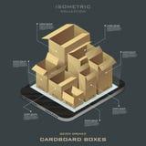 Sette scatole di cartone aperte Acquisto in linea Commercio elettronico Fotografia Stock