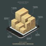 Sette scatole di cartone chiuse Acquisto in linea Commercio elettronico Fotografia Stock Libera da Diritti