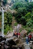 Sette sorelle cadute dell'acqua, gong di Menrong, Sikkim del nord immagini stock libere da diritti