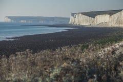 Sette sorelle, East Sussex, Inghilterra; una vista della spiaggia e delle scogliere immagine stock