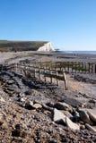 Sette sorelle scogliere, porto di Cuckmere, Sussex, Regno Unito fotografie stock