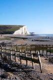 Sette sorelle scogliere, porto di Cuckmere, Sussex, Regno Unito fotografie stock libere da diritti
