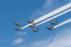 Sette texani AT-6 in cielo nuvoloso con le tracce del fumo Fotografia Stock Libera da Diritti