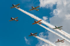 Sette texani AT-6 con le tracce e le nuvole del fumo Fotografia Stock Libera da Diritti