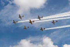 Sette texani AT-6 contro il cielo nuvoloso con le tracce del fumo Immagine Stock Libera da Diritti