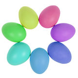 Sette uova di Pasqua nel cerchio Fotografia Stock Libera da Diritti