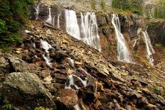 Sette velano le cadute, lago O'Hara, Yoho National Park, Canada Immagine Stock