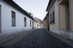 Setted street with little houses stock photos