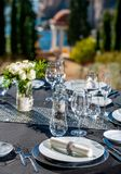 Setted table outdoors. Royalty Free Stock Photos