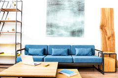 Settee with image above and bookcase in room Royalty Free Stock Photo