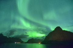 2016 settembre Aurora borealis dell'aurora boreale da Lofoten, Norvegia Immagini Stock