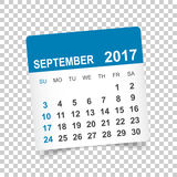 Settembre 2017 calendario illustrazione di stock