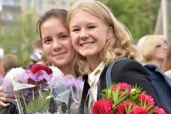1° settembre, giorno di conoscenza a scuola russa Fotografia Stock