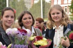 1° settembre, giorno di conoscenza a scuola russa Fotografia Stock Libera da Diritti