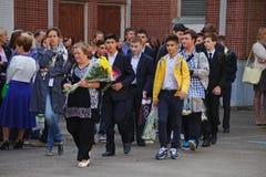 1° settembre, giorno di conoscenza a scuola russa Giorno di conoscenza Primo giorno del banco Fotografia Stock