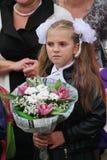 1° settembre, giorno di conoscenza a scuola russa Giorno di conoscenza Primo giorno del banco Immagini Stock Libere da Diritti