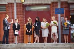 1° settembre, giorno di conoscenza a scuola russa Giorno di conoscenza Primo giorno del banco Fotografie Stock Libere da Diritti