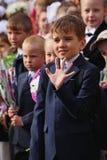 1° settembre, giorno di conoscenza a scuola russa Giorno di conoscenza Primo giorno del banco Immagini Stock