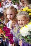 1° settembre, giorno di conoscenza a scuola russa Giorno di conoscenza Primo giorno del banco Fotografia Stock Libera da Diritti