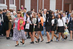 1° settembre, giorno di conoscenza a scuola russa Giorno di conoscenza Primo giorno del banco Immagine Stock Libera da Diritti