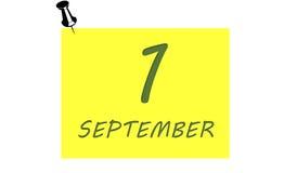 1° settembre iscrizione sul taccuino Fotografia Stock