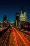 5 settembre 2015, la difesa della La del distretto aziendale alla notte, parità Immagine Stock