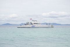 17 settembre 2014 - la nave turistica ha portato i turisti al uninha Fotografie Stock