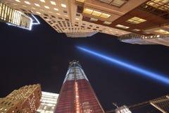 11 settembre luci di tributo Fotografia Stock