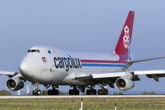 3 settembre 2015, Luqa, Malta: Jumbo-jet circa da decollare Immagine Stock Libera da Diritti