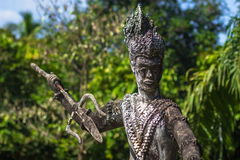 26 settembre 2014: Statua di pietra buddista nel parco di Buddha, Laos Immagine Stock