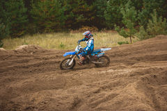 24 settembre 2016 - Volgsk, Russia, corsa trasversale di moto del MX - il motociclo sui concorsi Fotografia Stock Libera da Diritti