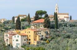 Settignano est une ville toscane antique sur une colline, avec une belle vue panoramique de Florence La ville est située dans le  photos stock