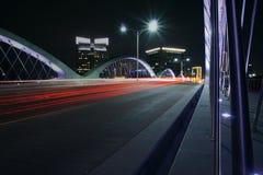 settime tracce della luce del ponte della via Immagini Stock Libere da Diritti