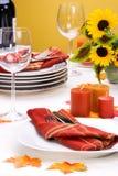 Settin da tabela de jantar do tema da queda Fotografia de Stock