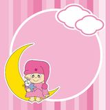 Setting baby girl sitting on the moon Royalty Free Stock Photography