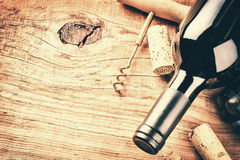 Setting with bottle of red wine and corks. Wine list concept. With copy space Royalty Free Stock Photography