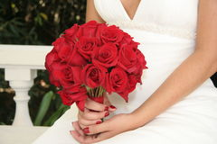 Setting Bride Red Bouquet White Gown Royalty Free Stock Image