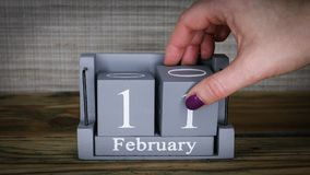 11 calendar February months. 11 setting date on wooden cube calendar for February months. International Day of Women and Girls in Science stock video footage