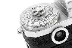 Setting dial on vintage photo camera. Engraved markings on vintage analog camera settings dial Stock Images