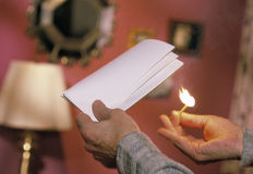 Setting document on fire Royalty Free Stock Photography