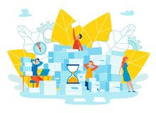 Setting Function For Reminders Cartoon Vector. stock illustration