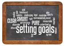 Setting goals word cloud on blackboard Royalty Free Stock Photos