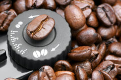 Setting grind coffee. Knob controls the grind coffee for espresso machine Stock Image