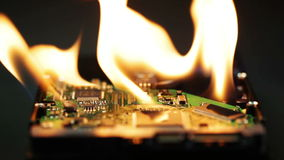 Setting a hard disk on fire Stock Image