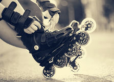 Setting of laces on roller skates Stock Photography