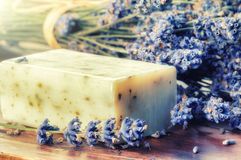 Setting with natural soap and fresh lavender Royalty Free Stock Images