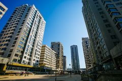 Setting new residential area. Builders checking high-rise constr stock image